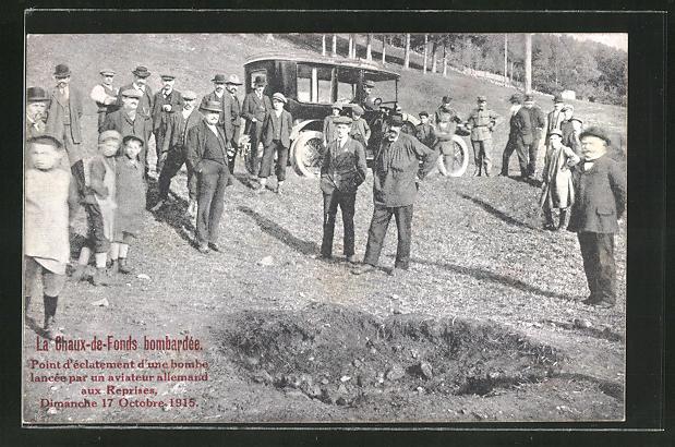 AK Chaux-de-Fonds, Bombenkrater am Ortsrand vom 17.10.1915 0
