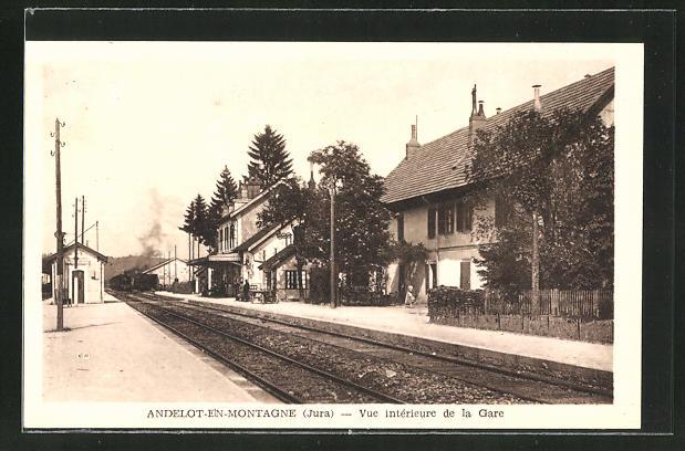 AK Andelot-en-Montagne, Vue intérieure de la Gare, Bahnhof von der Gleisseite 0