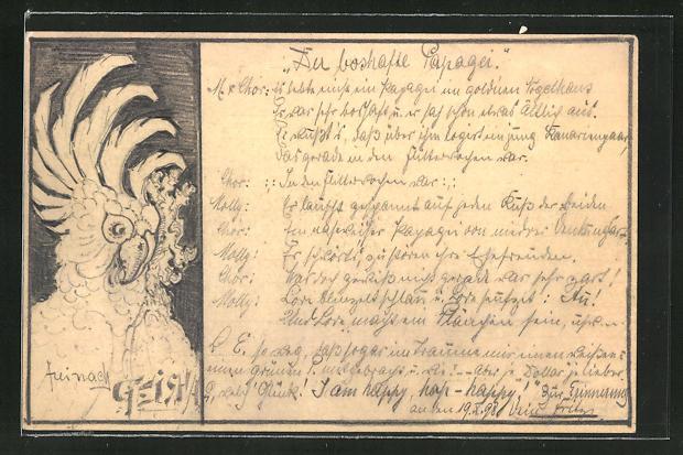 Künstler-AK Handgemalt: Kakadu mit aufgestelltem Kopfgefieder 0