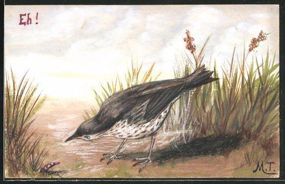 Künstler-AK Handgemalt: Amsel hat einen Regenwurm entdeckt 0