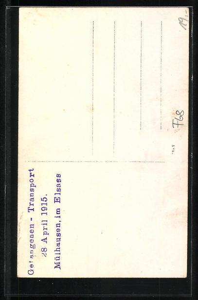 AK Mülhausen, Gefangenen-Transport, 28. April 1915 1