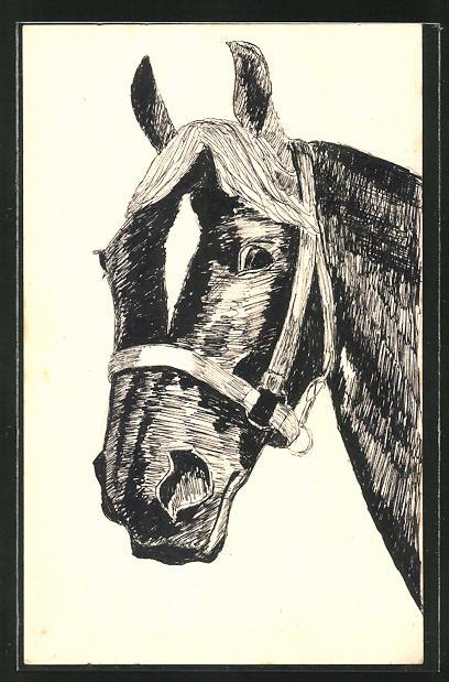 Künstler-AK Handgemalt: Pferd im Zaumzeug