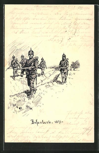 Künstler-AK Handgemalt: Stosstrupp der Infanterie 1870, Reichseinigungskriege