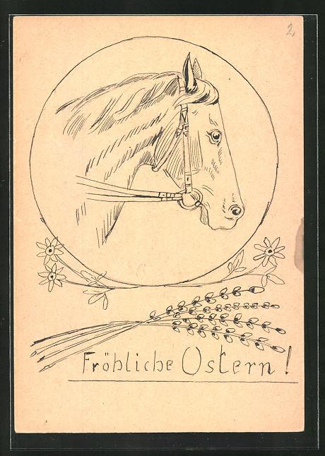 Künstler-AK Handgemalt: Fröhliche Ostern, Pferd mit Zaumzeug
