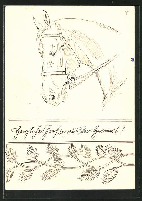 Künstler-AK Handgemalt: Studie eines Pferdes im Zaumzeug 0