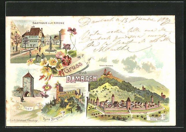 Lithographie Dambach, Gasthaus zur Krone, Ruine Bernstein 0