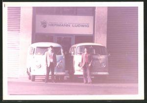 Fotografie Auto VW Bulli T1 und T2, Allgemeine Land- und Seetransport AG, Hermann Ludwig in Duisburg