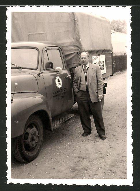 Fotografie Lastwagen, LKW-Pritsche der Firma J. Schmitz & Co., Frankfurt / Main - Höchst