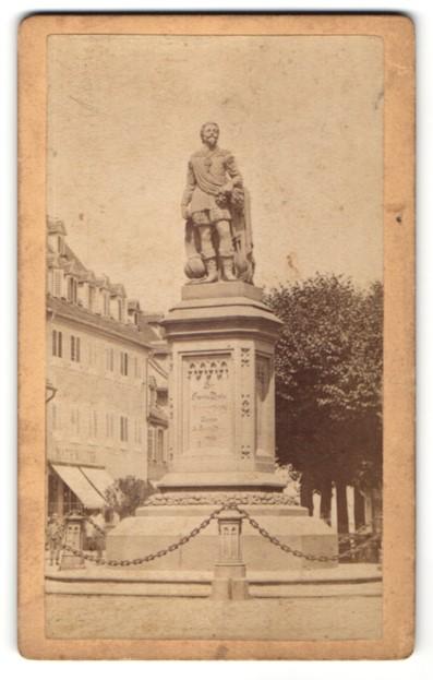 Fotografie unbekannter Fotograf, Ansicht Offenberg, Statue Sir Francis Drake