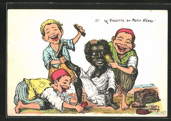 AK Schuhputzer mit Bürsen und Afrikaner