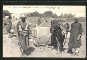 AK Egyptian Types and Scenes, Road Making, Strassenbauer mit Gespann