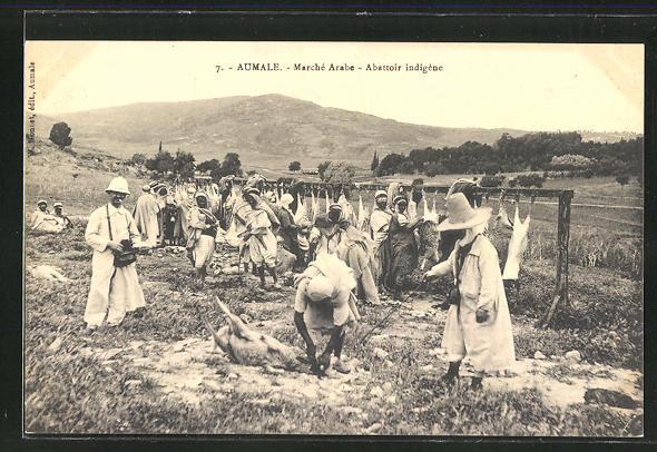 AK Aumale, Marché Arabe, Abattoir indigene, Fleischer