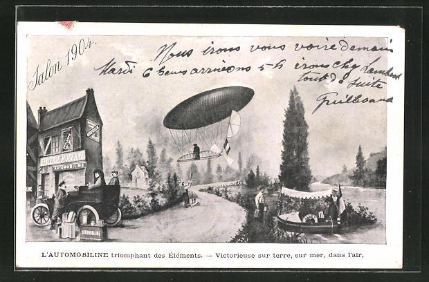 AK L'Automobile triomphant des Elementes, Victorieuse sur terre, sur mer, dans l'air, Auto & Zeppelin