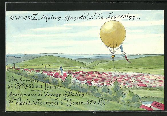 Künstler-AK Handgemalt L. Maison: Paris, Aeronautes de la Lorrains, Heissluftballon über einer Ortschaft