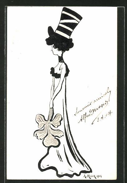 Künstler-AK Handgemalt A. Moser: Dame im Abendkleid mit hohem Hut, 1904