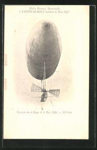 AK Prix Henry Deutsch, le Santos Dumont doublant la Tour Eiffel, Zeppelin in der Luft