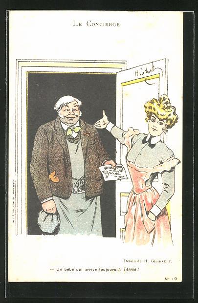Künstler-AK sign. Gerbault: Le Concierge, Gerichtsvollzieher vor der Tür