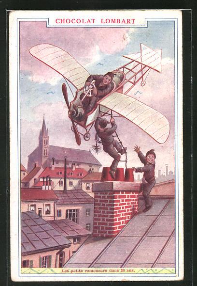AK Schornsteinfeger mit Flugzeug, Reklame für Chocolat Lombart