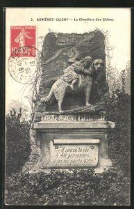 AK Asnières-Clichy, Le Cimetière des Chiens, Hunde-Friedhof
