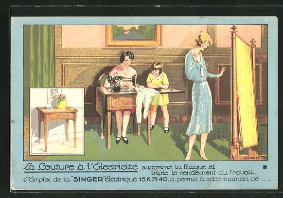 Lithographie La Couture a l'Ectricité, l'Emploi de la