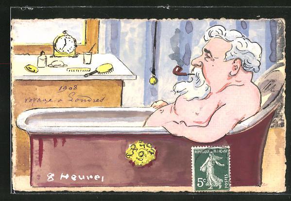 Künstler-AK Handgemalt: Karikatur französischer Politiker in Badewanne sitzend