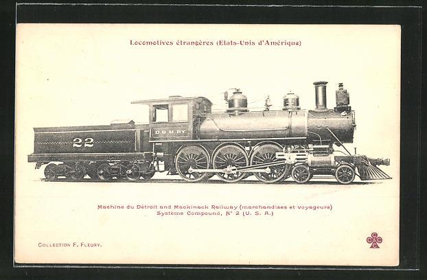 AK Locomotives etrangeres, Dampflok, Tender-Lokomotive Nr. 22 Detroit & Mackinack Railway