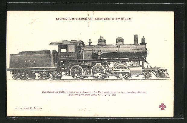 AK Locomotives etrangeres, Dampflok, Tender-Lokomotive Nr. 605 Atchinson & Santa Fe Railway
