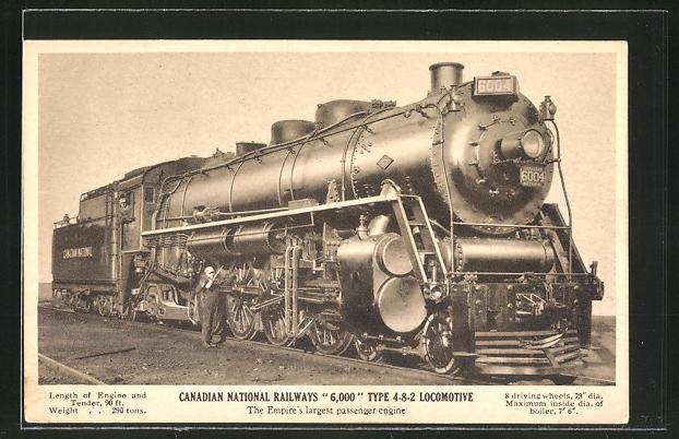 AK Canadian National Railways, Locomotive Type 4-8-2, Dampflok Nr.: 6004