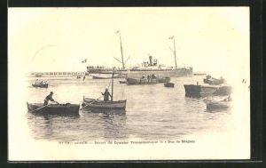 AK Alger, Passagierschiff Duc de Bragano vor der Küste