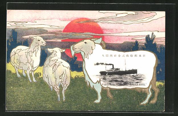 AK Nippon, Passagierschiff Atsuta Maru in voller Fahrt, Schafe auf der Weide