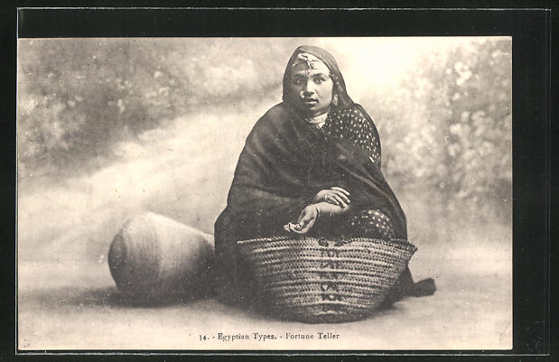AK Egyptian Types, Fortune Teller, Hellseherin mit Korbtasche