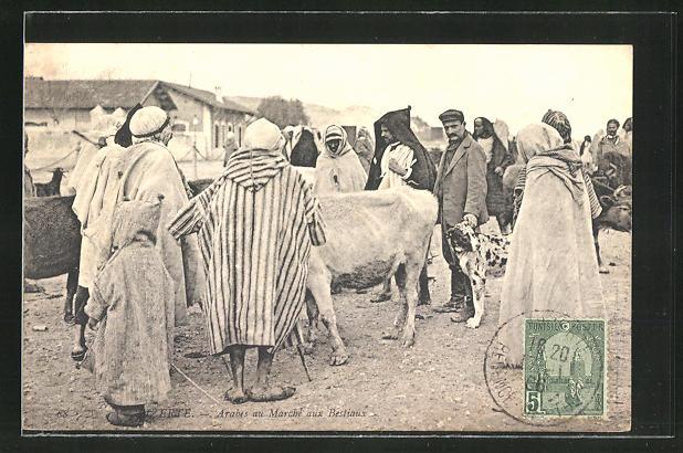 AK Bizerte, Arabes au Marche aux Bestiaux, arabische Händler