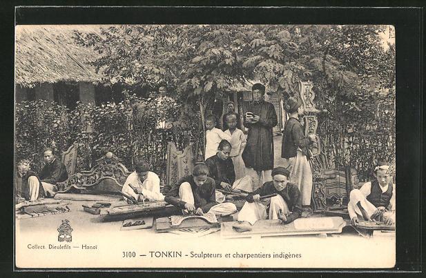 AK Tonkin, Sculpteures et chaprenties indigènes, einheimische Kunsttischler