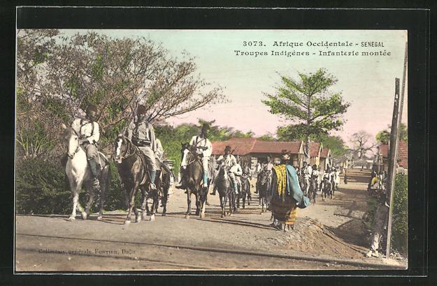 AK Sénégal, Troupes Indigènes - Infanterie montée, Kavallerie aus dem Senegal