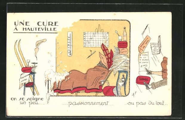 Künstler-AK Une Cure à Hauteville, Medizin, Kur