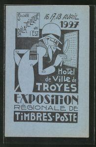 AK Troyes, Exposition Régionale de Timbres-Poste 1927, Design, Briefmarken-Ausstellung, blau