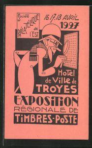 AK Troyes, Exposition Régionale de Timbres-Poste 1927, Design, Briefmarken-Ausstellung, rot