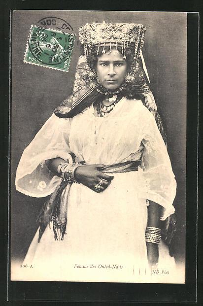 AK Femme des Ouled-Nails, junge Frau mit Kopfschmuck