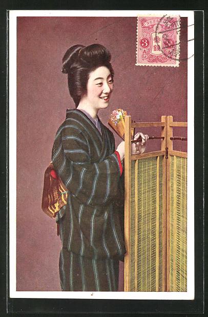 AK Lächelnde Japanerin in Kimono, Geisha