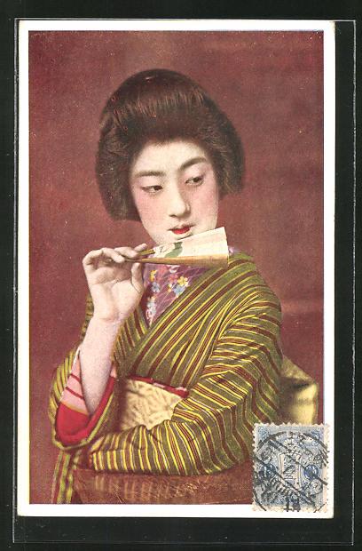 AK Japanische Dame mit Fächer, Geisha