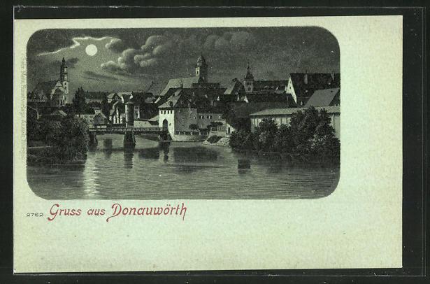 Mondschein-Lithographie Donauwörth, Blick vom Wasser auf die Ortschaft