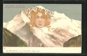 Künstler-AK Killinger Nr. 111: Eine Jungfrau ohne Gleichen, Berg mit Gesicht / Berggesichter