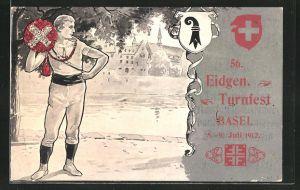 AK Basel, 56. Eidgen. Turnfest 1912, Turner mit Siegeskranz