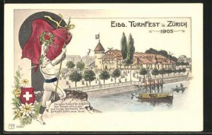Künstler-AK Zürich, Eidg. Turnfest 1903, Turner mit Siegeskranz
