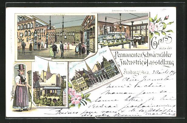 Lithographie Freiburg, Permanente Schwarzwälder Industrie-Ausstellung 1898, Uhren-Saal