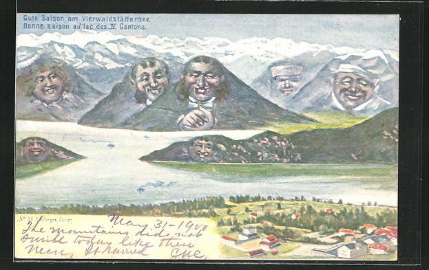 Künstler-AK Ernst Schlemo, Killinger Nr. 98: Vierwaldstättersee mit Bergpanorama, Berg mit Gesicht / Berggesichter