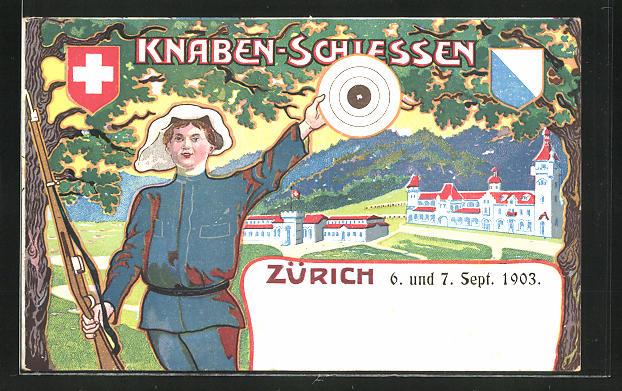 Lithographie Zürich, Knaben-Schiessen 1903, Schütze mit Zielscheibe