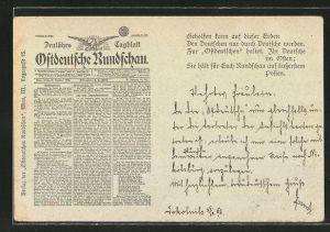 AK Ostdeutsche Rundschau, Deutsches Tageblatt, Ausgabe von 1898