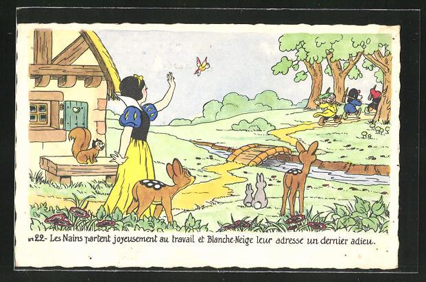 AK Walt Disney, Les nains partant joyeusement au travail..., Schneewittchen und die 7 Zwerge
