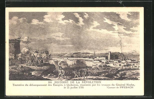AK Histoire de la Révolution, Tentative du débarquement des Émigres à Quiberon...